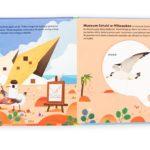 strona z książeczki dla dzieci Niesamowite zwierzęta - Budynki